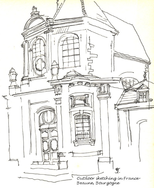 outdoor sketching,Beaune