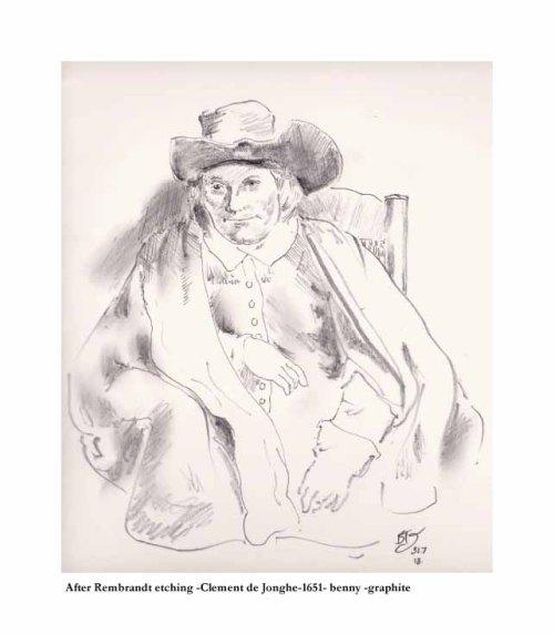 After Rembrandt etching-Clement de Jonghe