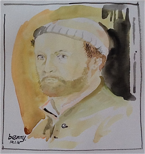 Self- Portrait: Hans Holbein in watercolor