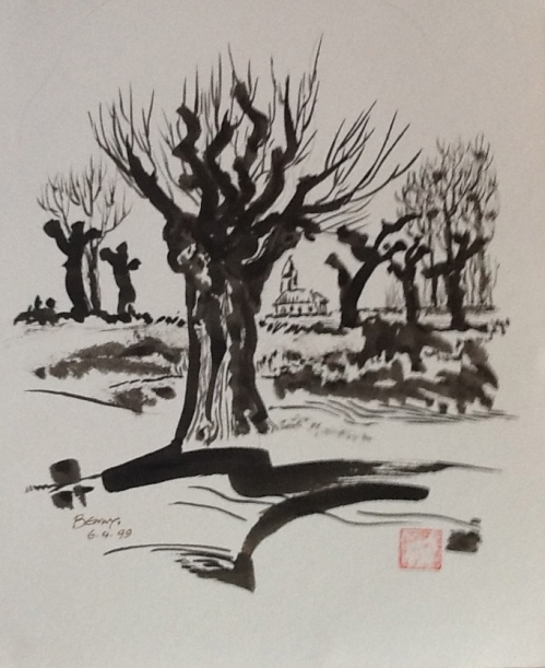 Knotted Willows-ink and brush