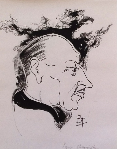 Igor Stravinsky-pen and ink