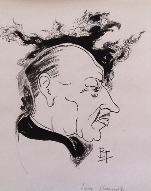 Igor Stravinsky-pen and ink
