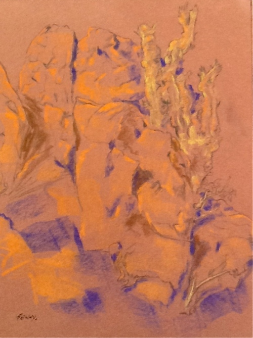 Outdoor Sketching-pastel on color paper