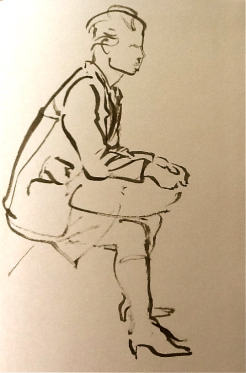 Waiting Game-brush and ink