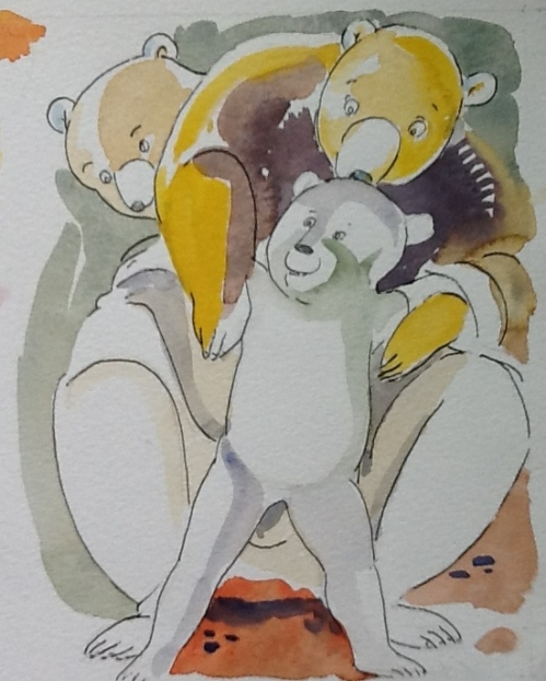 Bear Bruno with his parents-watercolor