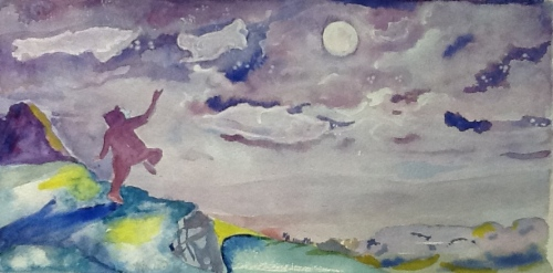 Baby Bruno Leaps With Joy-night scene