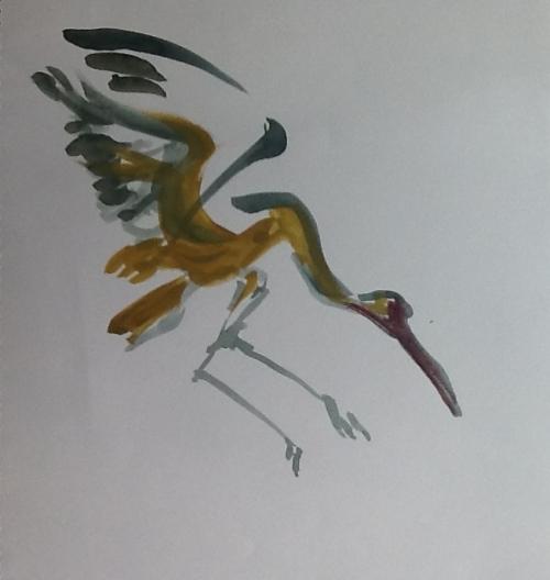 Quick sketch of crane descending