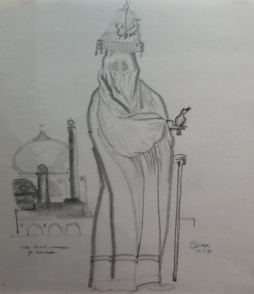 In a Persian Market-graphite