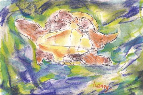 Turtle swimming-pastel