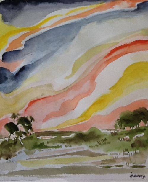 Sunrise- water colour